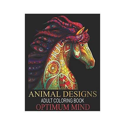 Optimum Mind Animal Designs Adult Coloring Book