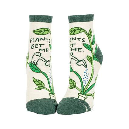 Plants Get Me. Blue Q Women's Funny Ankle Socks