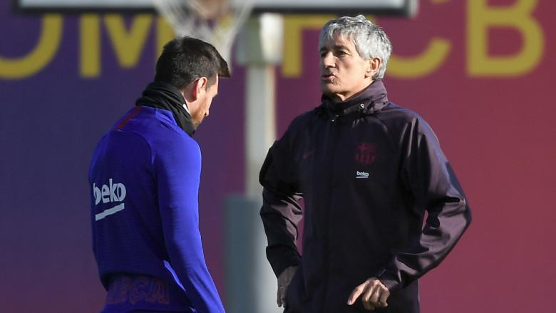 Quique Setien and Lionel Messi