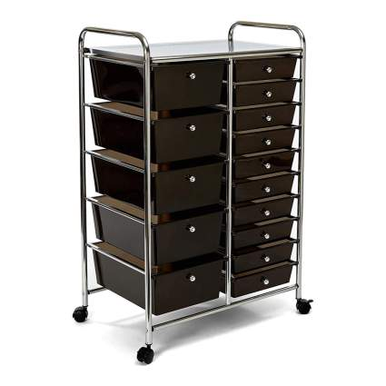 black organizer storage cart