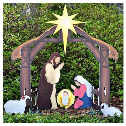 printed outdoor nativity set
