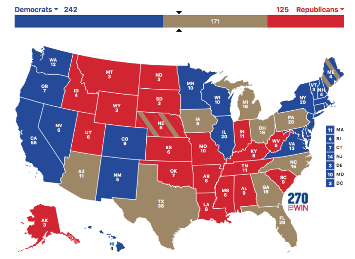 Electoral College map too early to call