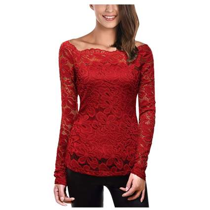 boat neck lace top