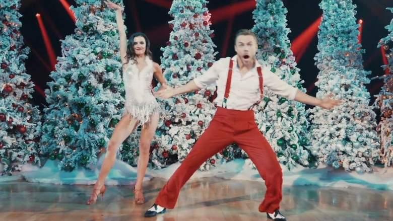 Hayley Erbert and Derek Hough perform on the Disney Holiday Singalong