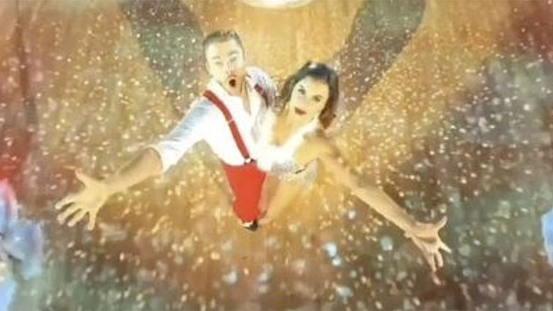 Hayley Erbert and Derek Hough perform for the Disney Holiday Singalong special