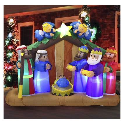 inflatable nativity scene with angels