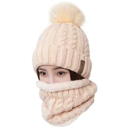 LCZTN Women's Pom Beanie Hat & Scarf