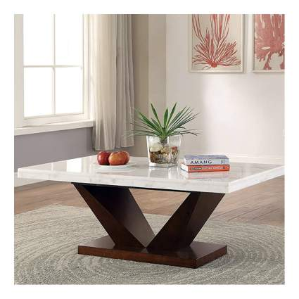 marble and walnut coffee table