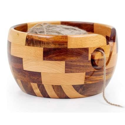 mixed wood yarn bowl