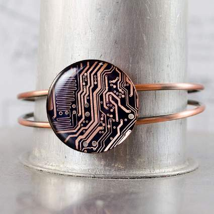 Recycled Circuit Board Copper Bracelet