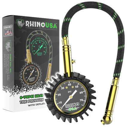 Rhino USA Heavy-Duty Tire Pressure Gauge