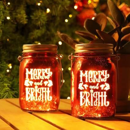 Red christmas mason jar lights