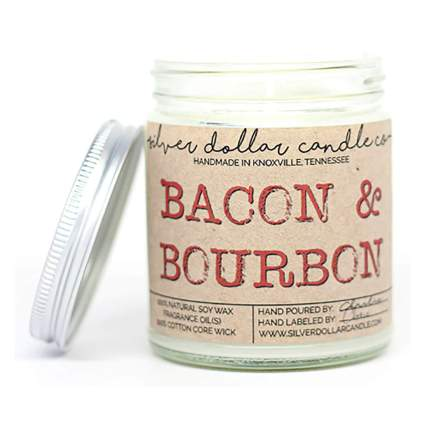 bacon and bourbon scented candle