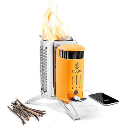 woodburning camp stove with usb charger