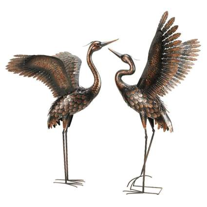 bronze heron garden sculptures
