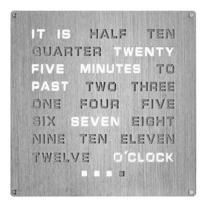 brushed stainless word clock