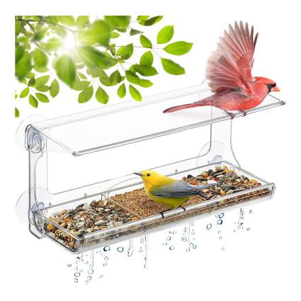 Window plastic bird feeder