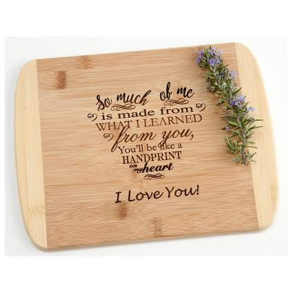 engraved bamboo cutting board