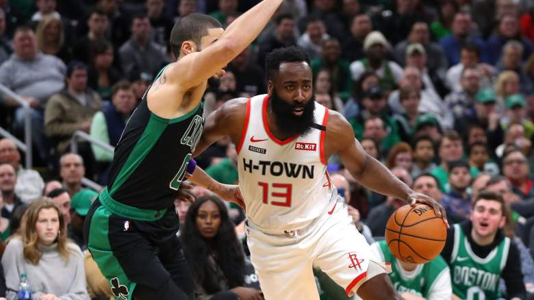 Safe to say that Jayson Tatum (left) of the Celtics will not be traded for James Harden of the Rockets.