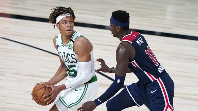 Romeo Langford, left, seldom-seen Celtics guard.
