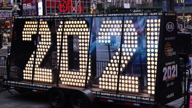 The New Year's Eve numerals are lit up while on display in Times Square on December 21, 2020 in New York City.