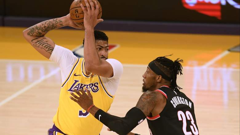 Anthony Davis, left, of the Lakers