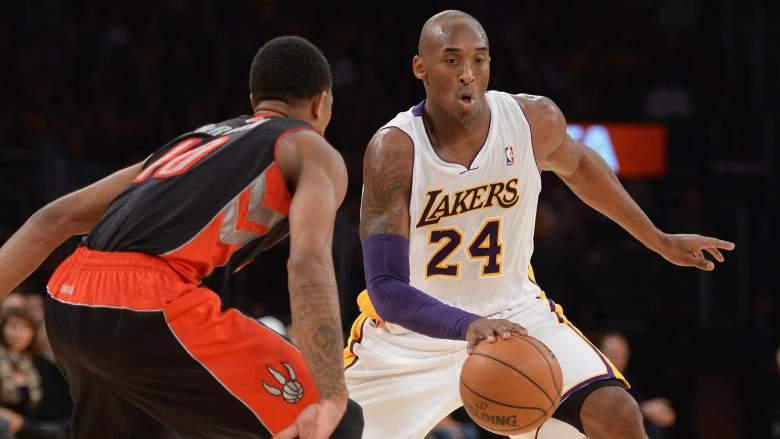 DeMar DeRozan, left, defends Lakers star Kobe Bryant.