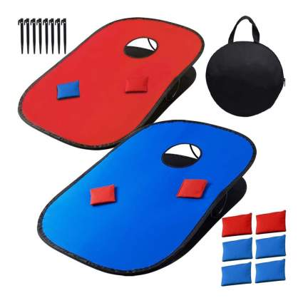 red and blue cornhole set
