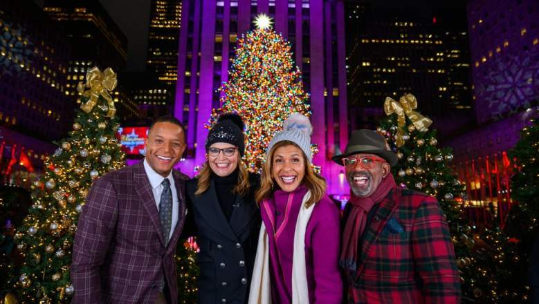 Pictured: (l-r) Craig Melvin, Savannah Guthrie, Hoda Kotb, Al Roker during the 2019 Christmas in Rockefeller Center
