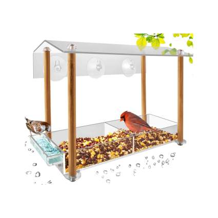 Outdoor Weatherproof Acrylic Bird House With Drinking Water Tray and Pillar Supports