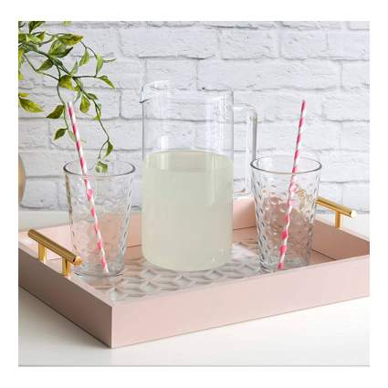 pink wooden serving tray
