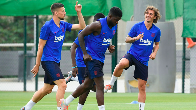 Barcelona players in training