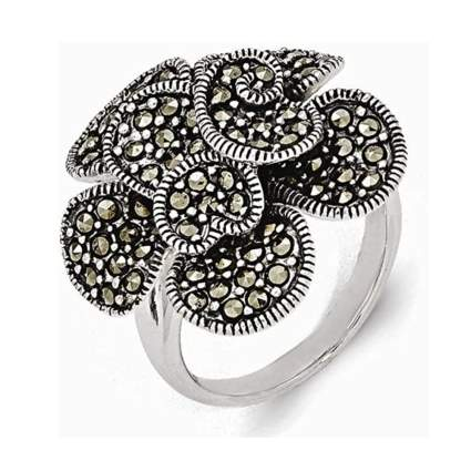silver and marcasite flower ring