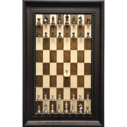 Straight Up Chess Vertical Wall Mounted Maple Chess Board