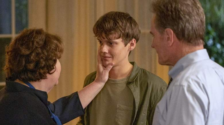 """(L-R): Margo Martindale as Elizabeth Guthrie, Hunter Doohan as Adam Desiato and Bryan Cranston as Michael Desiato in YOUR HONOR, """"Part Four""""."""