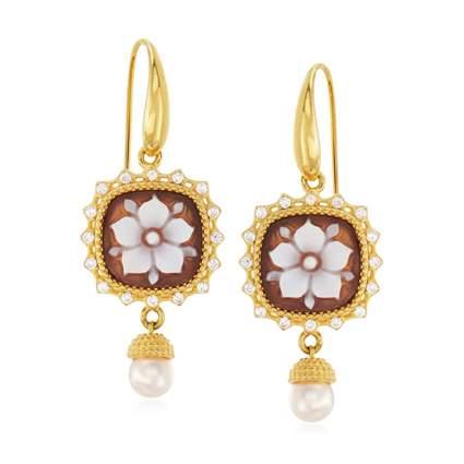 cameo dangle earrings