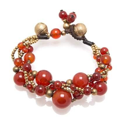 carnelian twisted boho bracelet