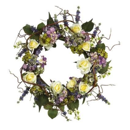 hydrangea and rose silk wreath