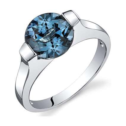 london blue topaz and silver ring