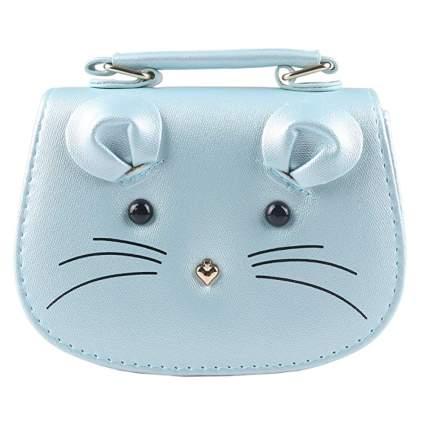 little girl's blue mouse purse