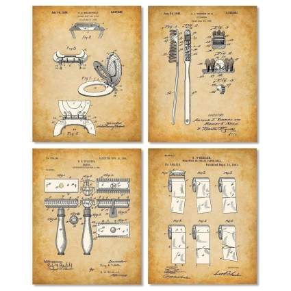Set of Four Original Bathroom Patent Art Prints