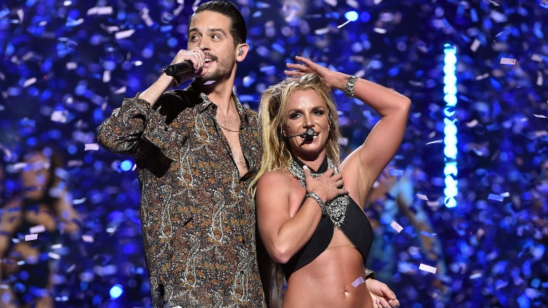 Britney Spears on stage with G-Eazy.