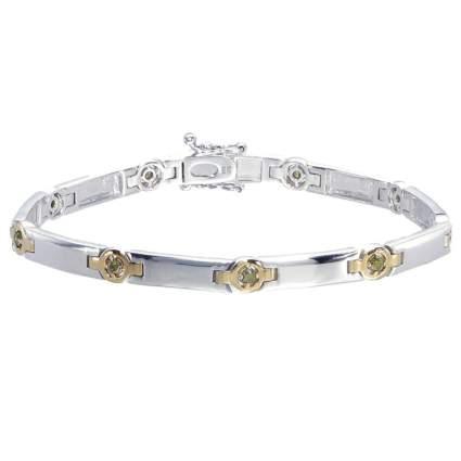 silver and champagne diamond bracelet