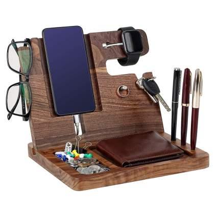 wooden nightstand caddy