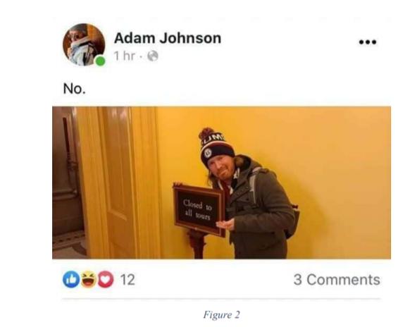 Adam Johnson Facebook post