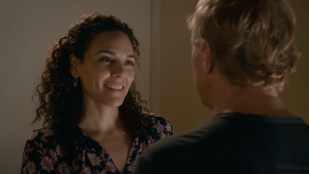Johnny Lawrence (William Zabka) and Carmen Diaz (Vanessa Rubio) share a moment in Cobra Kai Season 3, Episode 8.