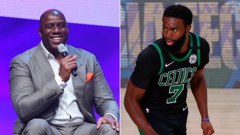 Magic Johnson puts Jaylen Brown in his top-5 for NBA MVP.