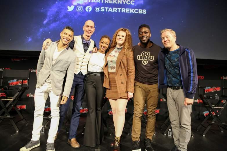 Wilson Cruz; Doug Jones; Sonequa Martin-Green; Doug Jones; Mary Wiseman; David Ajala ; Anthony Rapp; of the CBS All Access series Star Trek: Discovery during New York Comic-Con 2019