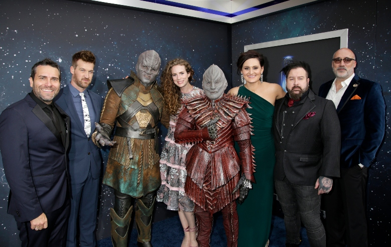 Star Trek Discovery cast and crew members at a press event