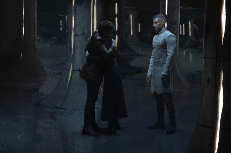 Blu del Barrio as Adira, Ian Alexander as Gray and Wilson Cruz as Dr. Hugh Culber of the CBS All Access series STAR TREK: DISCOVERY